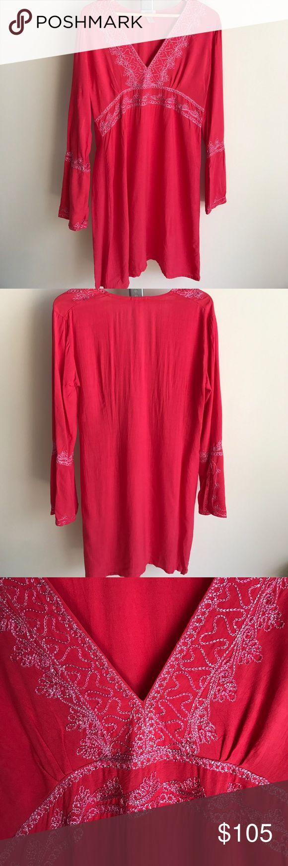 Calypso St. Barth | Embroidered Tunic Embroidered tunic dress from Calypso St. Barth. Pink with pink and silver embroidery. Must have for summer beach vacations and lazy weekend fun in the sun. EUC Calypso St. Barth Swim Coverups