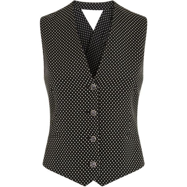 Temperley London Phoenix Dot Cross Back Waistcoat ($510) ❤ liked on Polyvore featuring outerwear, vests, waistcoat vest, polka dot vest, sleeveless waistcoat, jacquard vest and temperley london