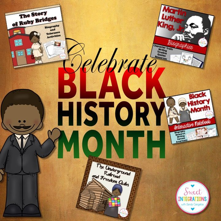 Get a month's worth of ideas for black history month including researching a famous black american lapbook, Ruby Bridges, MLK and Harriet Tubman; $