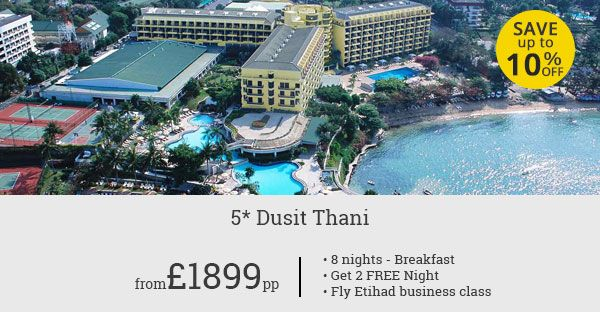 8 nights holiday at sprawling bayside 5 Star resort Dusit Thani. 2 Free Nights. Business Class flights with Etihad. A complete 5 Star holiday.