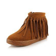 Estilo Retro Fringe Botas Genuína Pena de couro Mulheres Tornozelo Botas Curtas Borlas botas sapatos mulher botas mujer das Mulheres z264(China (Mainland))