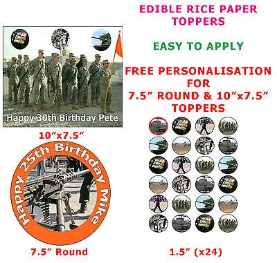 Personalised army #birthday #cake/cupcake toppers on rice #paper ,  View more on the LINK: http://www.zeppy.io/product/gb/2/351539650134/