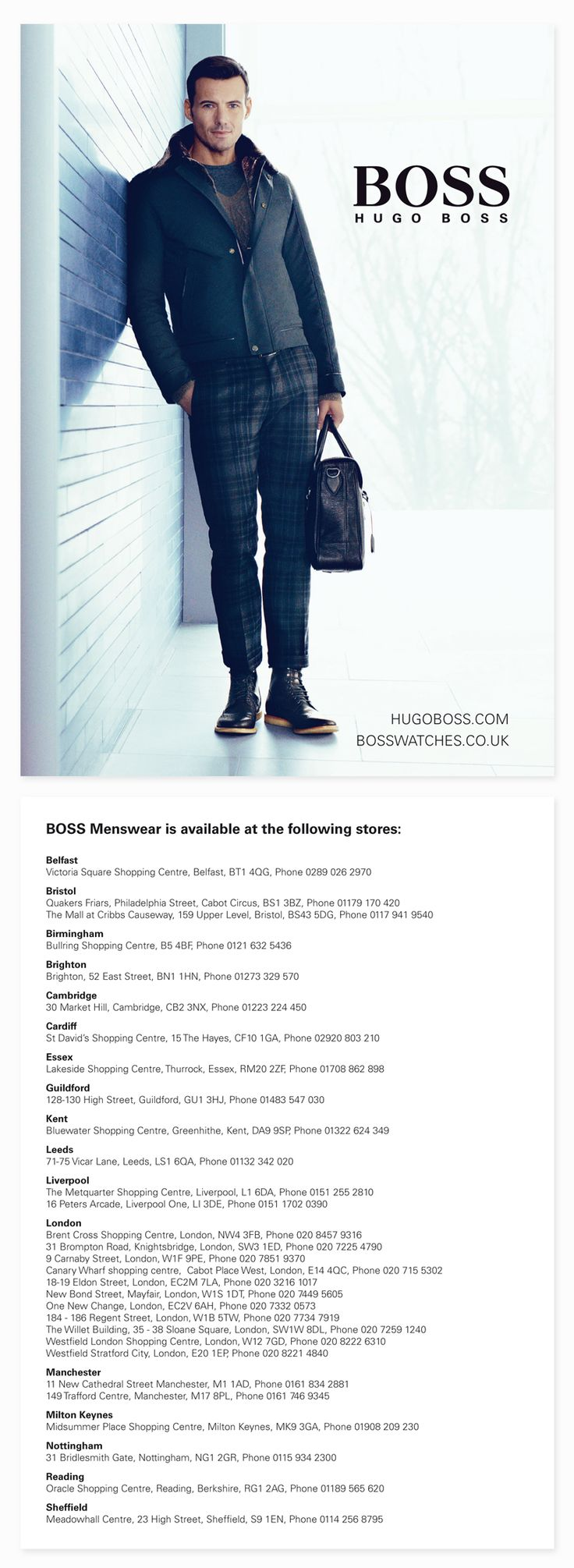 Hugo Boss Store List. By Sama Studio Ltd.
