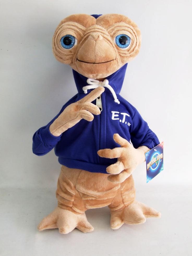 Peluche E.T. el Extraterrestre. Sudadera azul, 38cm
