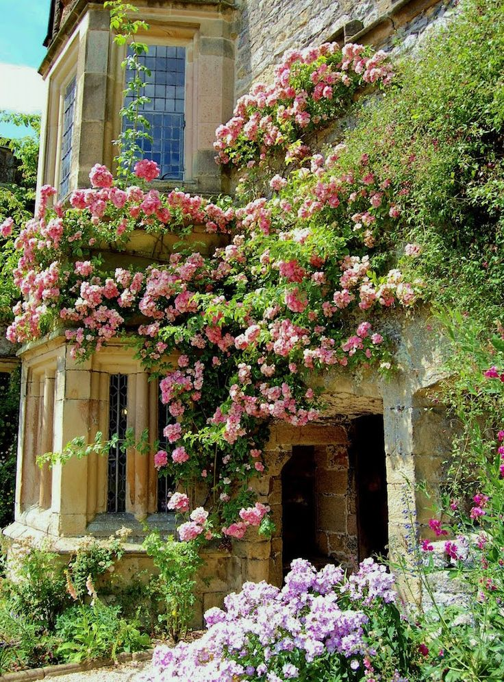 The Most Exquisite Gardens and Landscaping Ever! Incredible English climbing rose garden on a fabulous old stone house. Original source unknown