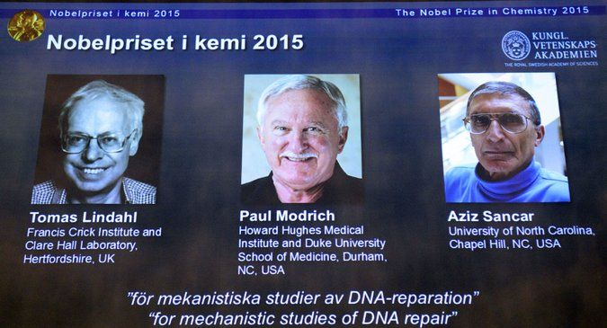 Nobel Prize in Chemistry Awarded to Tomas Lindahl, Paul Modrich and Aziz Sancar for DNA Studies By WILLIAM J. BROADOCT. 7, 2015 - The New York Times
