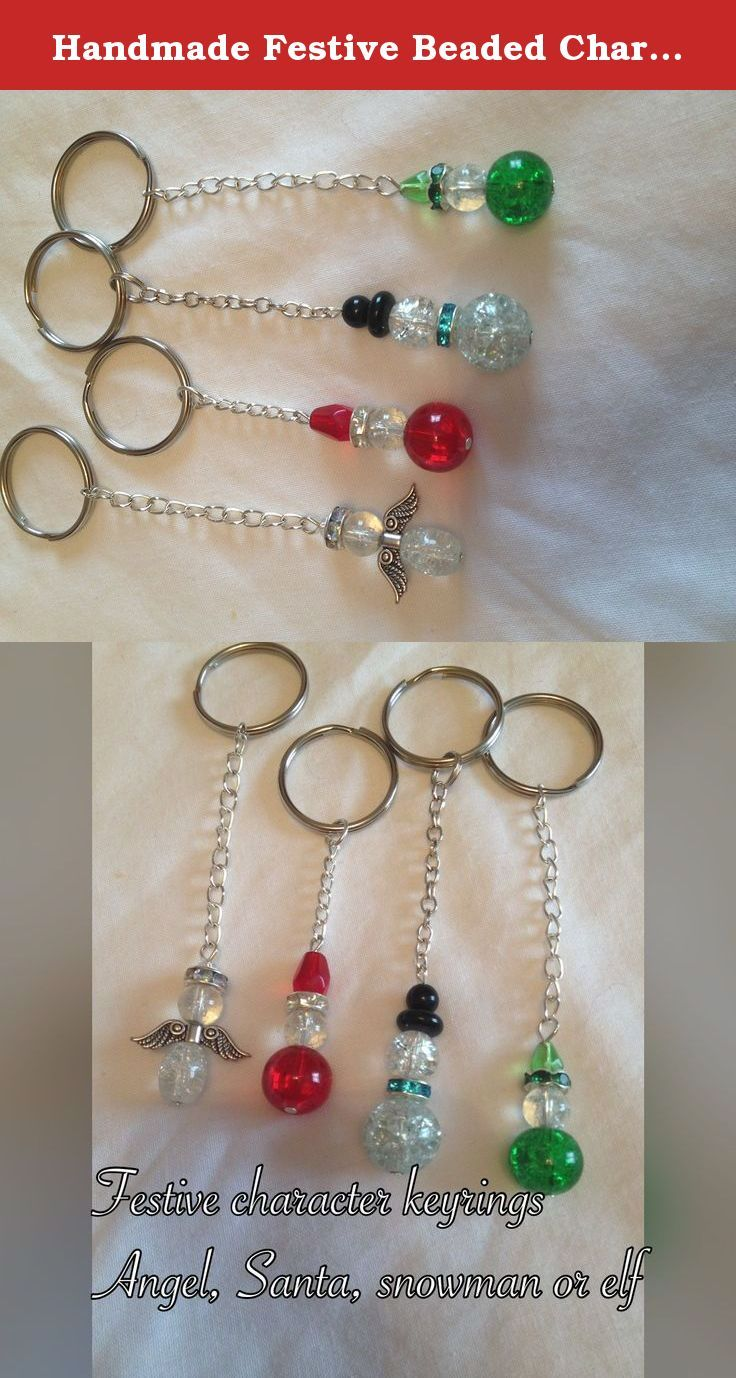 Handmade Festive Beaded Character Key Ring / Key Chain. Glass crackle beads, crystal spacer beads and other beads on silver plated pins attached to silver plated chain and a large silver coloured split ring. Characters available - Angel, Santa, Snowman and Elf Characters measure approx 3cm in length. All items come in an organza gift bag.