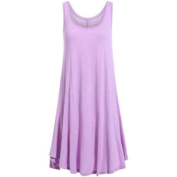 Irregular Hem Scoop Neck Sundress (22 AUD) ❤ liked on Polyvore featuring dresses, purple dresses, sundress dresses, purple sundress, scoop-neck dresses and purple sun dress