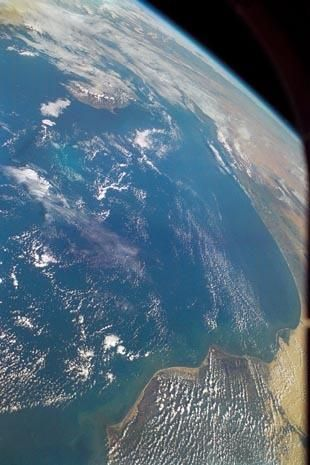 On Feb. 1, 2003, seven astronauts were killed when the shuttle broke up over Texas preparing to land at Florida's Kennedy Space Center - In this handout image, a view of the Earth is seen featuring the southeastern Mediterranean and northeast Africa/Middle East border photographed by an STS-107 crew member on board the Space Shuttle Columbia between Jan. 16 and Feb. 1, 2003.