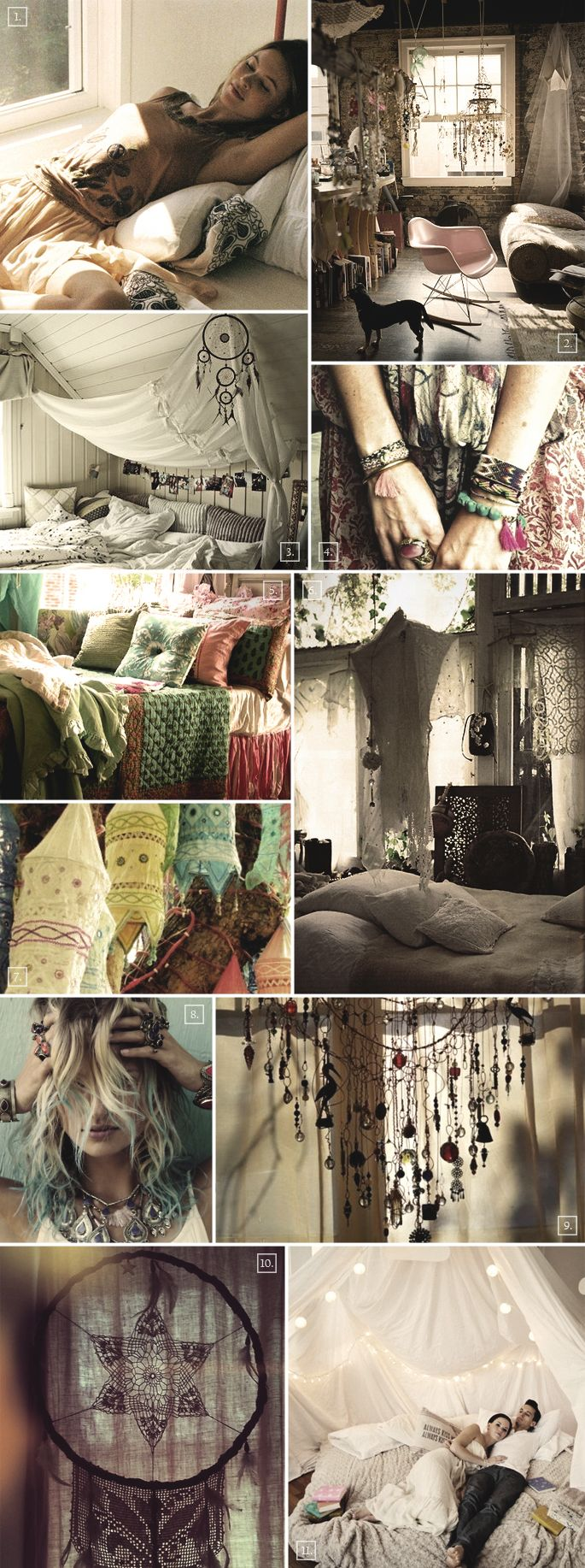 Ideas for creating a bohemian style bedroom..