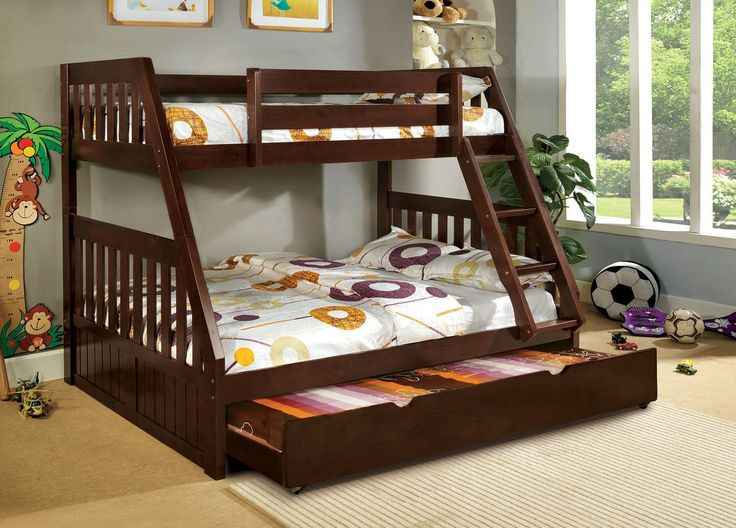 """Twin/Full Bunk Bed Canberra Collection Cm-Bk605ExMission style slats accent this bunk bed fi nished in dark walnut or oak. The twin over full bed is perfect for sleep over!TWIN/FULL BUNK BED [CM-BK605EX]78""""L X 56 3/4""""W X 66""""HTWIN TRUNDLE [CM-TR452-EXP]75""""L X 40 1/2""""W X 10 1/2""""HMissionStyleAngled FixedLadder13 Pc. SlatsTop"""