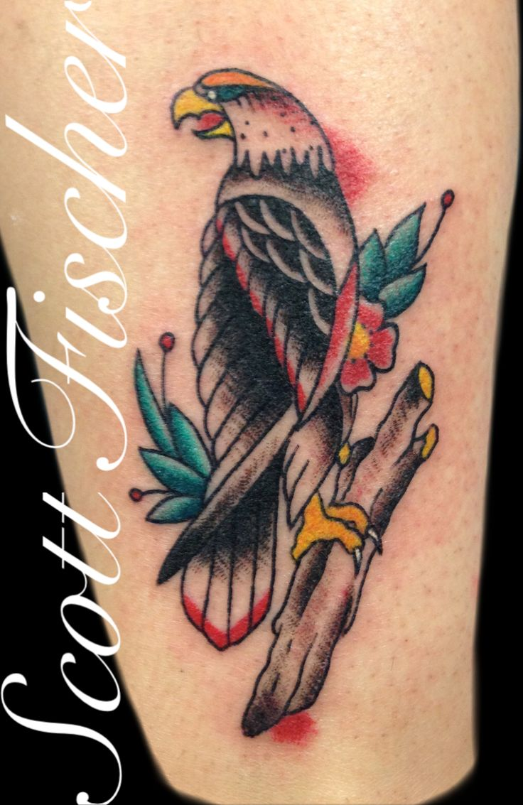 American traditional eagle tattoo on lower leg done by