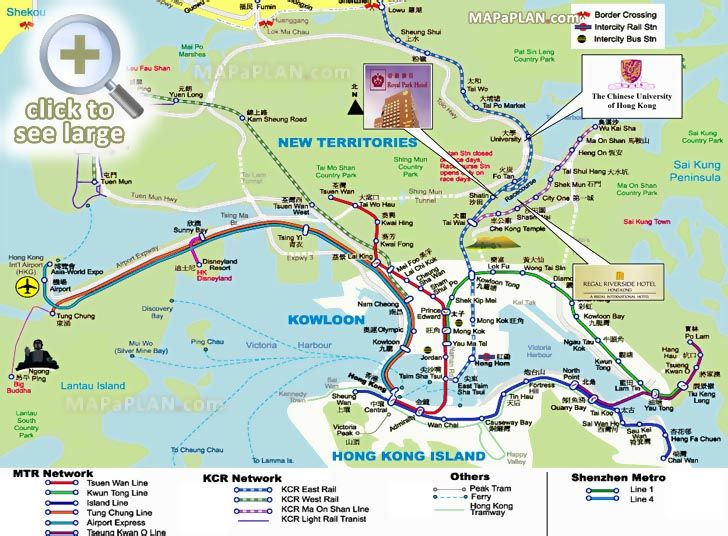 what to see where to go what to do driving road directions airport terminal train railway stops Hong Kong top tourist attractions map