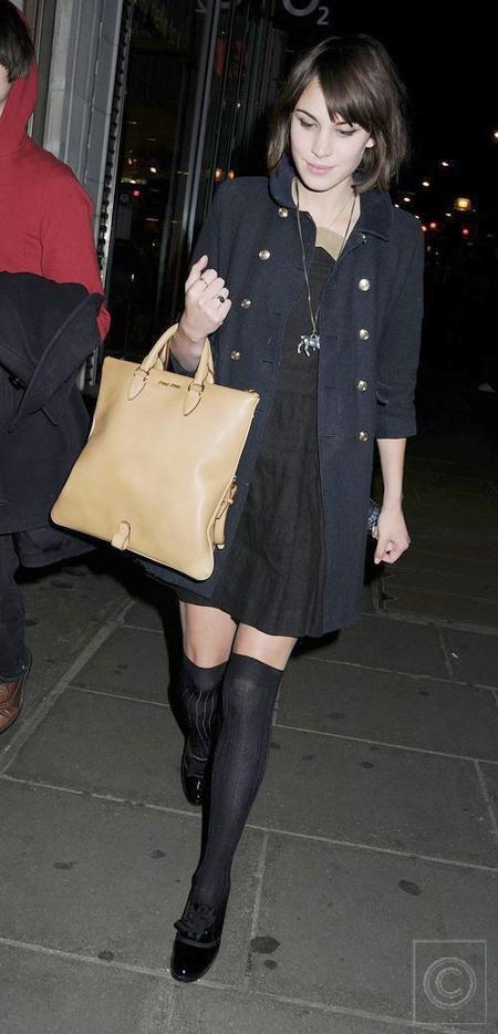 black knee high stockings, black dress, peacoat