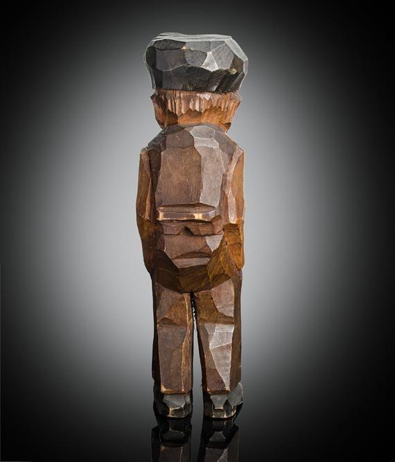 Folk Art carved wood standing man figure 9 Scandinavian flat plane