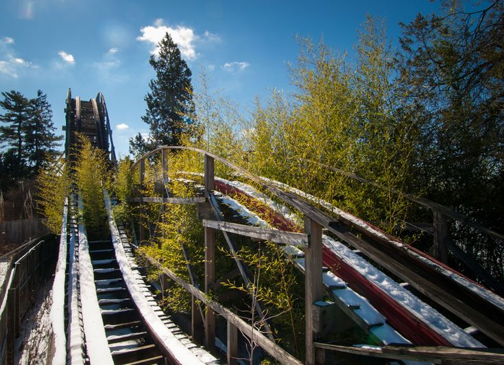 28 Abandoned Structures Still As Vibrant As The Day They Were Deserted~Trees grow up through the Big Dipper of the abandoned Geauga Lake Amusement Park.