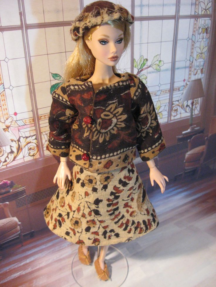 Poppy Parker wearing a two piece dress of Indian Batik Cotton with hand sewn ballet flats.