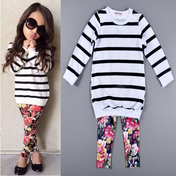 Cute Baby Kids Girls Clothes Stripe T-shirt Tops + Floral Leggings 2pcs Outfit Sets 2016 Fall Winter Children Girls Clothing Set 201509HX