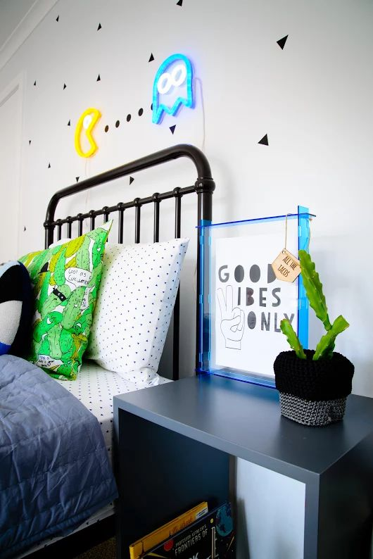 Amazing boysroom, neon pacman light by Electric Confetti, Pickle pillowcase by Kip and Co, Bed Incy Interiors, Muuto box as bedside table, Lucky boy Sunday cushion.  Styling by Little Nook Interiors