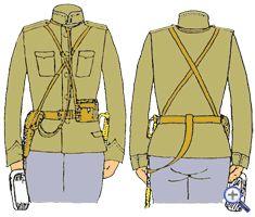 походное снаряжение гусарского офицера. кобура, бинокль в футляре, полевая сумка, фляга). Кожа покрашена в коричневый либо защитный цвет.
