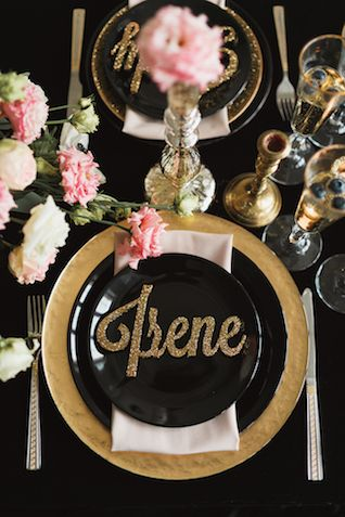 Laser cut gold glitter place cards names | Sergey Bulychev and Sergey Ulanov
