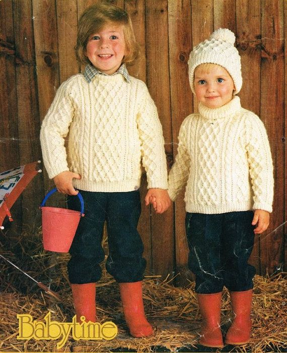 childrens aran jumper and hat vintage knitting pattern PDF