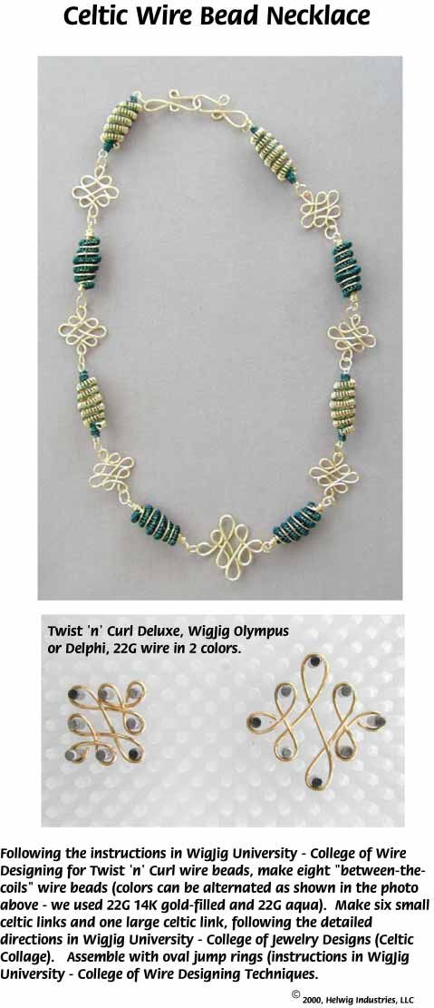 Celtic Wire Beads Necklace Jewelry Making Project made with WigJig jewelry making tools and supplies.