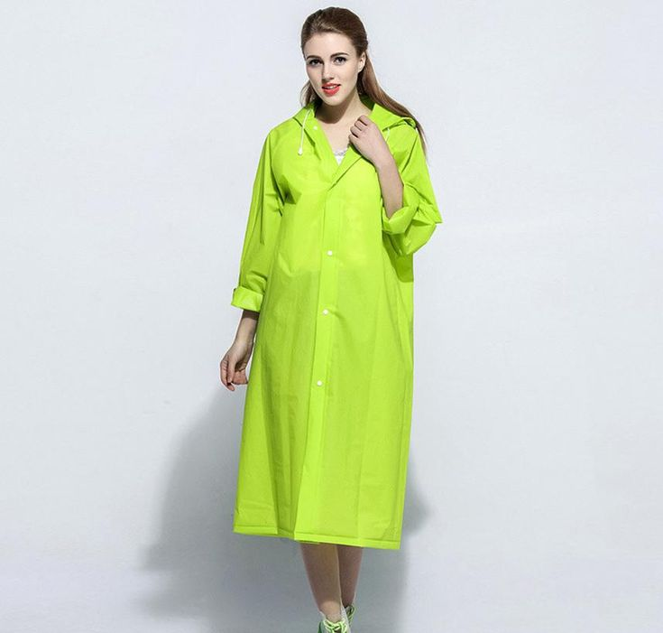 Paroot Green Solid Hooded Raincoat For Women #Raincoat