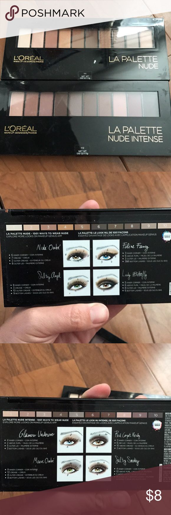 La palette nude and nude intense eye shadows L'Oréal eye shadow palettes . One nude and one nude intense. Brand new in package sealed never opened. Specify which color you prefer L'Oreal Makeup Eyeshadow