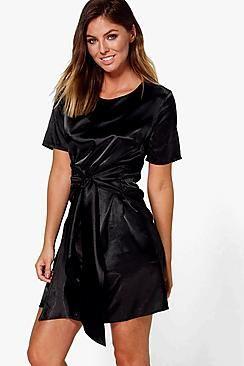 Orlagh Oversized Tie Waist Satin Shift Dress