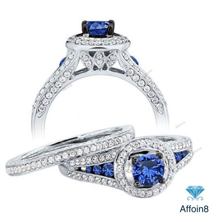 2.77 CT Round Diamond & Sapphire With Split Shank Bridal Ring Set In 925 Silver #Affoin8