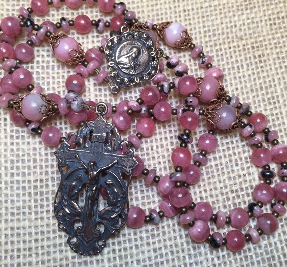 St. Therese Lisieux Rosary Bronze Heirloom Pink by EtCordeLLC