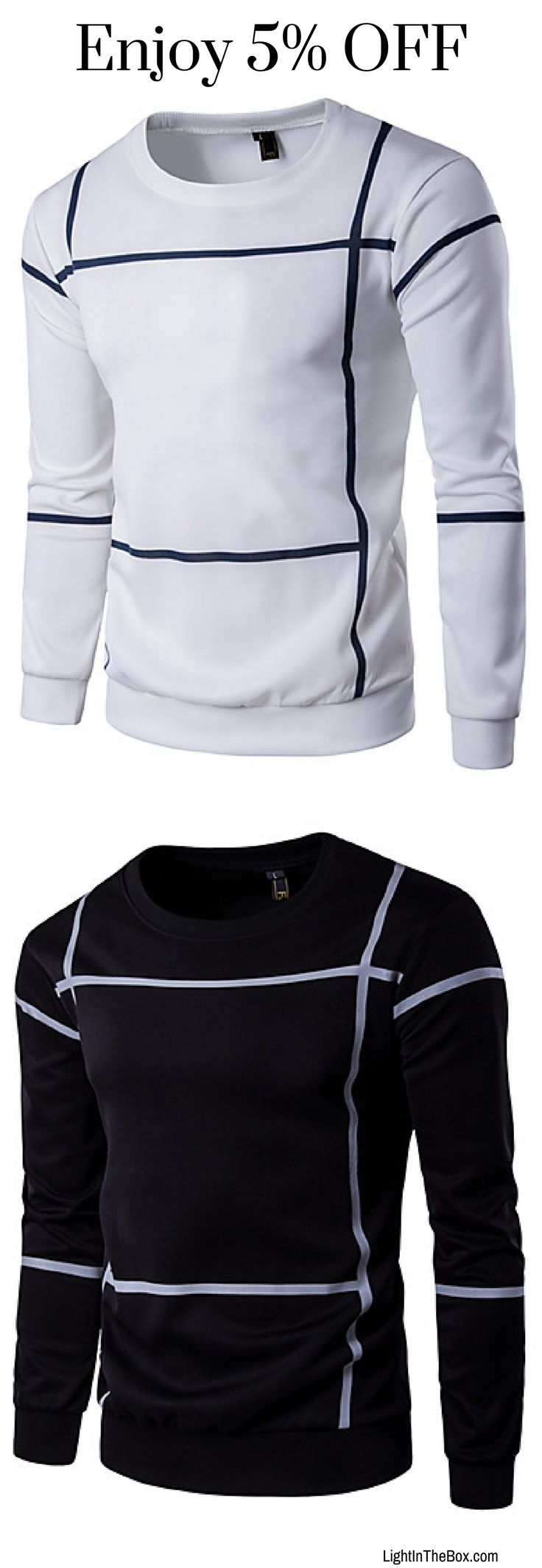 Men's casual solid quality thin striped long sleeve shirt in white, navy blue, dark grey colours at €13.51. Click to shop.