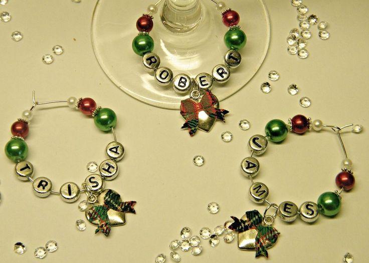 1 PERSONALISED SCOTTISH TARTAN WINE GLASS CHARM:WEDDING PARTY / CHRISTMAS GIFT