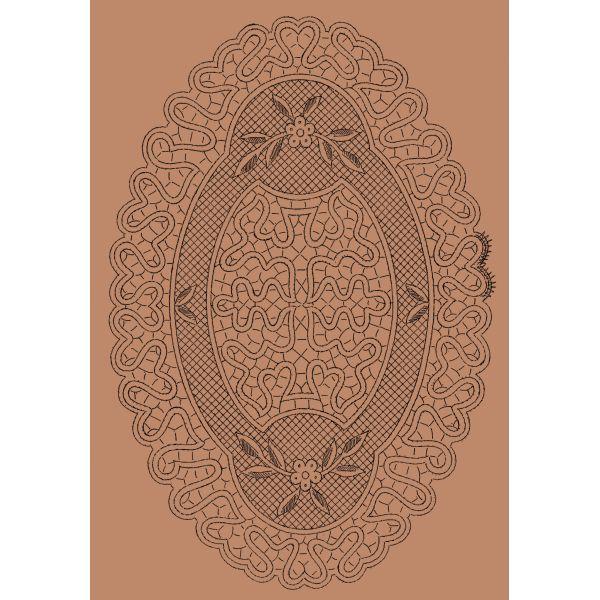Disegno ovale n. 060 - Il Giardino dei Punti, Circolo di ricami, pizzi e decori