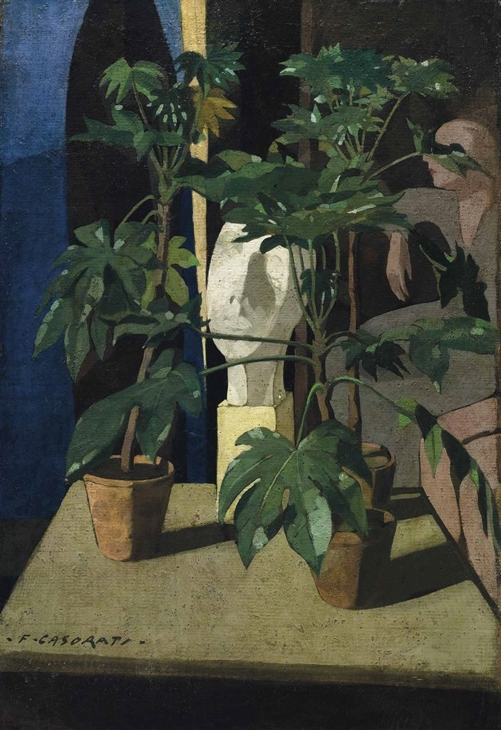 "thunderstruck9: "" Felice Casorati (Italian, 1883-1963), Le piantine [Plants], 1921. Oil on panel, 90 x 61.2 cm. """