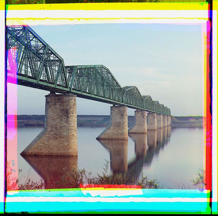 [Trans-Siberian Railway metal truss bridge on stone piers, over the Kama River near Perm, Ural Mountains Region] (LOC) | Flickr - Photo Sharing!