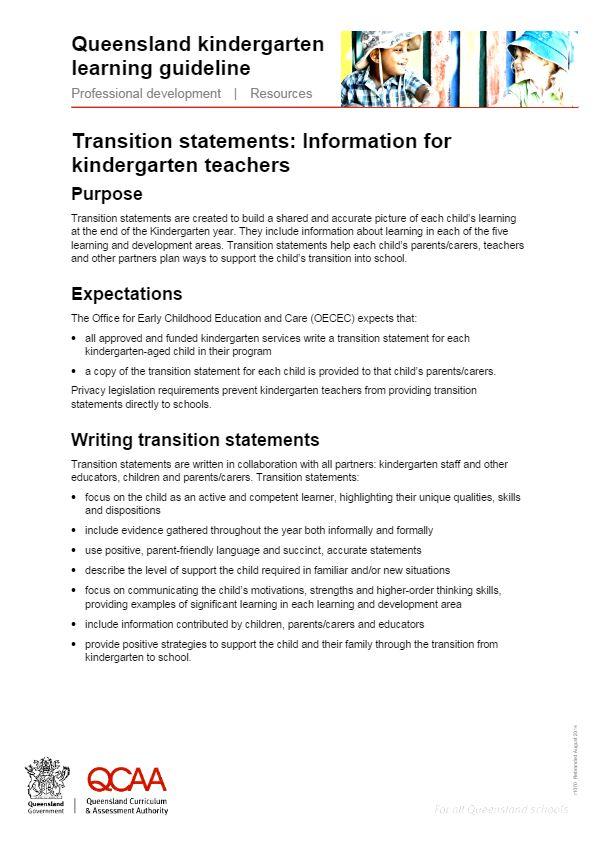 Transition statements: Information for kindergarten teachers