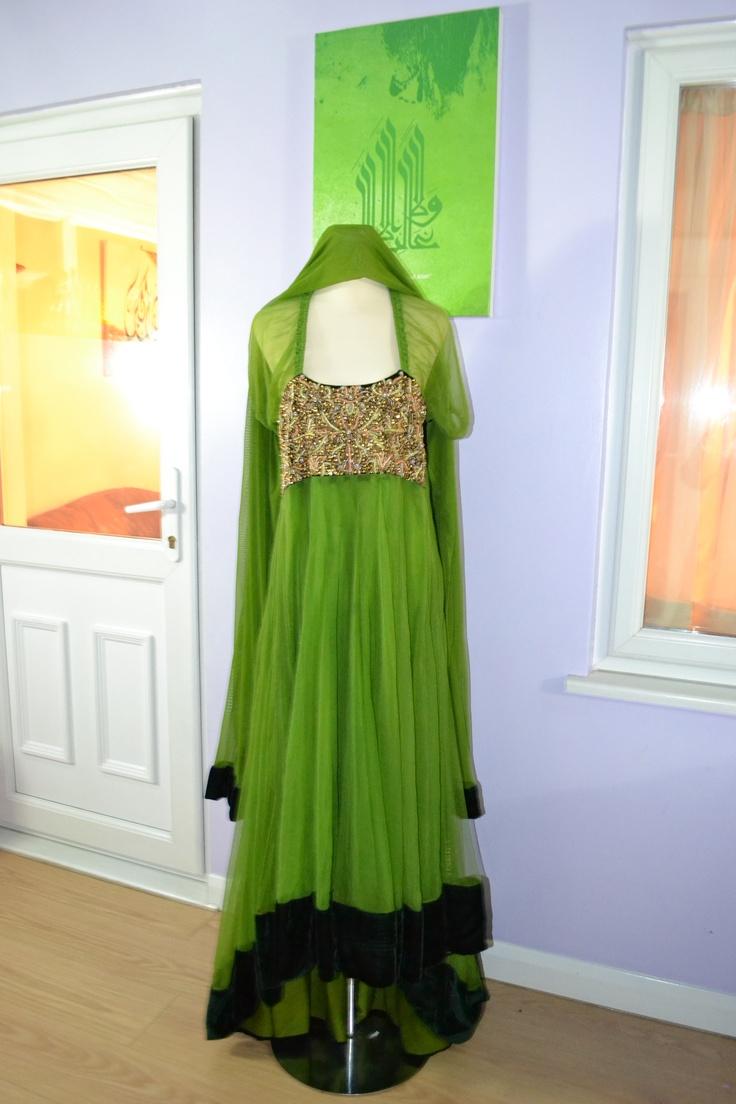 Green cascade dress with churidaar