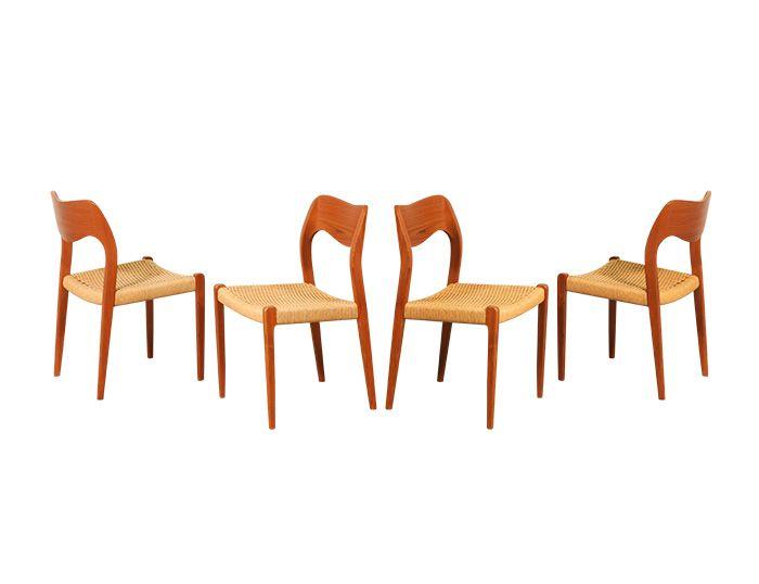 Arne Hovman Olsen #71 Teak & Rope Dining Chairs for J.L. Moller