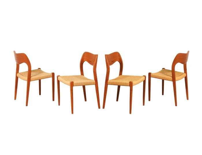 Arne Hovman Olsen #71 Teak & Rope Dining Chairs for J.L. Moller