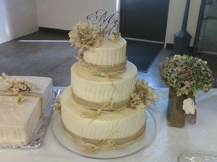 rustic burlap and raffia wedding cake weddings