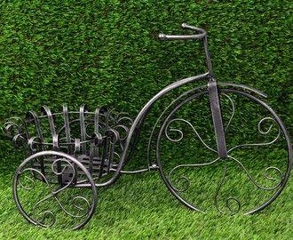Macetero de forja con forma de bicicleta (56x26x37 cm) negro ceniza 0