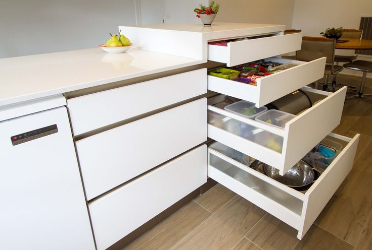 Tall drawer stack! Small, modern kitchen. www.thekitchendesigncentre.com.au @thekitchen_designcentre