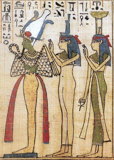 """OSIRIS, ISIS et NEPHTHYS (mythologica.fr). Osiris est surtout connu par sa légende : assassiné et démembré par son frère Seth, fut retrouvé et """"reconstitué"""" par ses sœurs, Isis et Nephthys."""