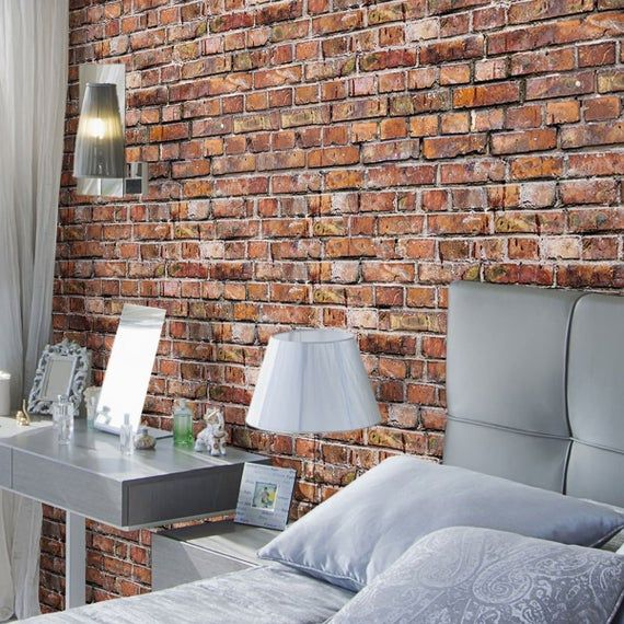 Red Brick Texture Peel And Stick Removable Wallpaper 8331 Etsy Brick Texture Red Brick Wallpaper Brick Wall Paneling