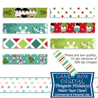 What's in the Candy Box: NEW Penguin Holidays Washi Tape Clip Art - Commerc...