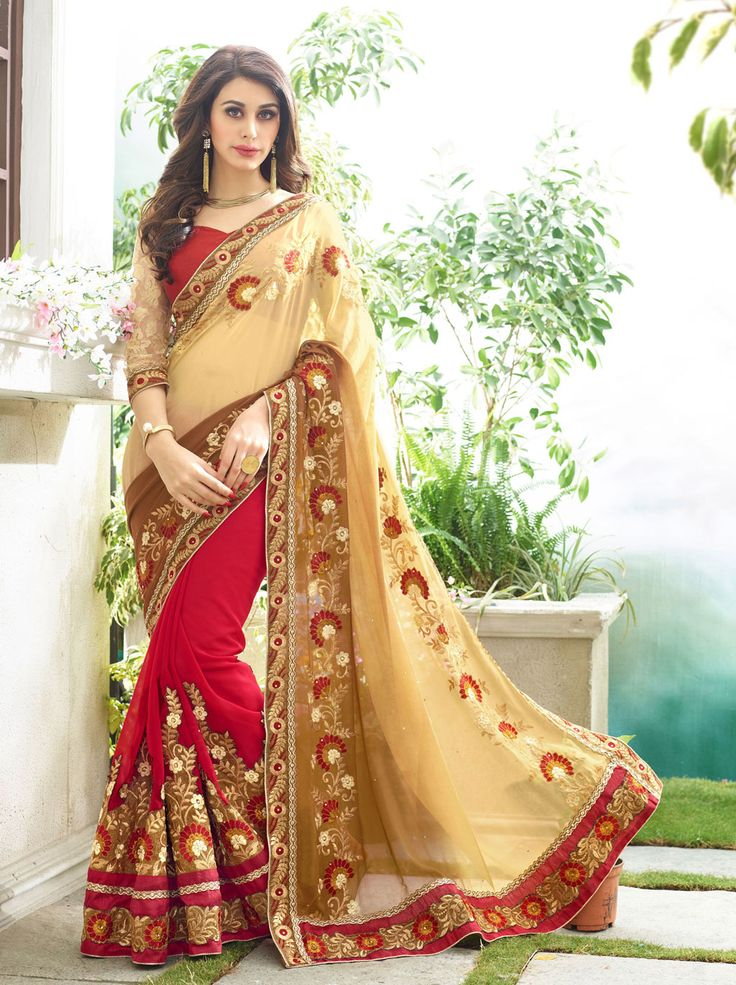 Cream Georgette Wedding Saree 66529  #WeddingSarees #OnlineShopping