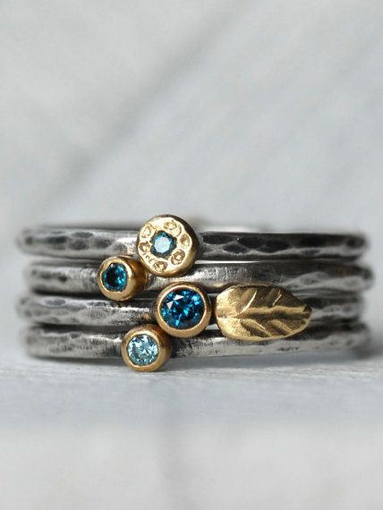 Blue Diamond Leaf Ring Set - 18k Gold and Silver Stack Rings - Set of 4 Diamond Stack Rings