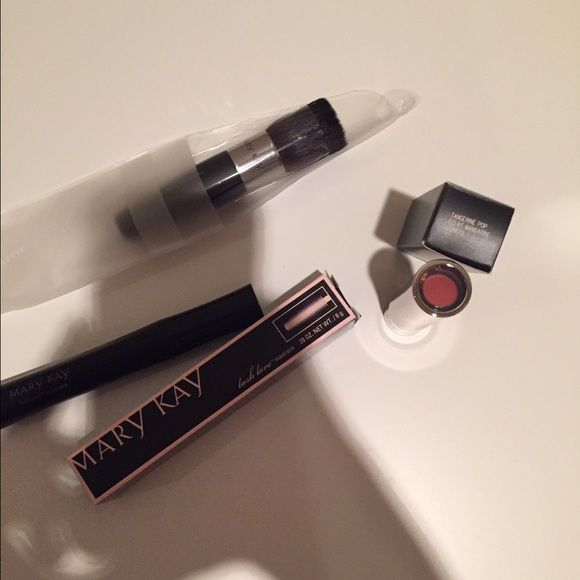 Mary Kat bundle Mary Kay bundle. Lipstick, mascara, and brush. NWT Mary Kay Makeup Lip Balm & Gloss